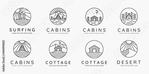 Billede på lærred Set of cabin adventure logo symbol vector illustration design