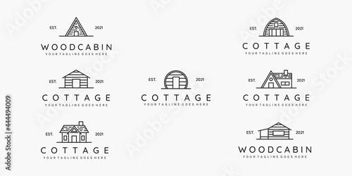 Obraz na plátne Set of cottage line art minimalist logo vector illustration design