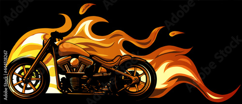 Fotografering custom motorcycle with flames vector illustration design