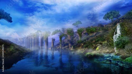 Foto Fantastic landscape with river, aqueduct and waterfall, 3D render