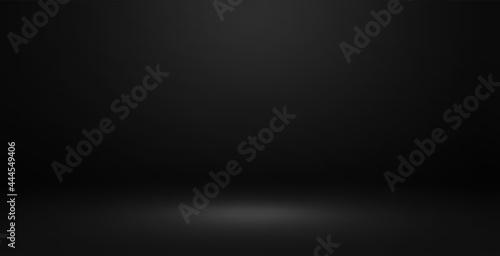 Black studio wall and floor background Fototapeta