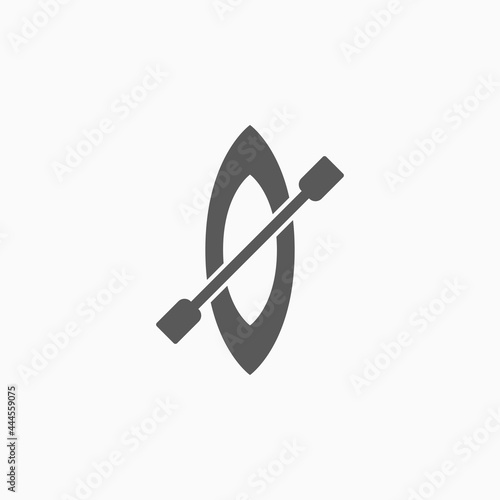 Fototapeta canoe icon, rowboat vector, sampan illustration