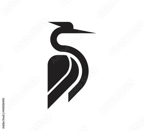 Fotografiet heron logo vector design template