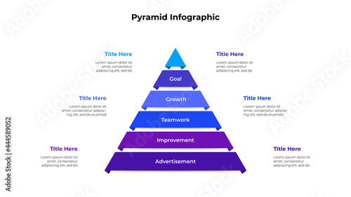 Obraz na plátně Creative pyramid infographic with 6 options or steps