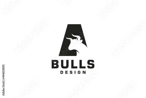 Wallpaper Mural Letter A logo, Bull logo,head bull logo, monogram Logo Design Template Element