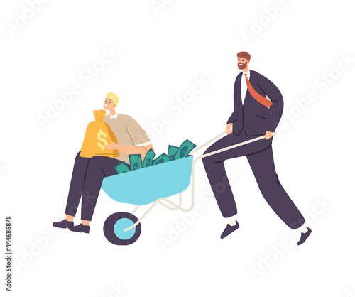 Canvas Print Businessman Character Push Wheelbarrow with Money and Man Holding Sack with Dollars