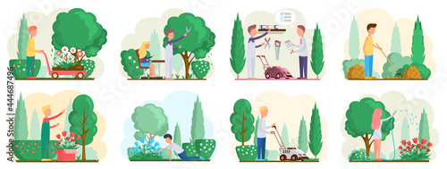 Fotografia Seasonal gardening with characters of gardeners working in outdoor garden scenes set with people growing plants