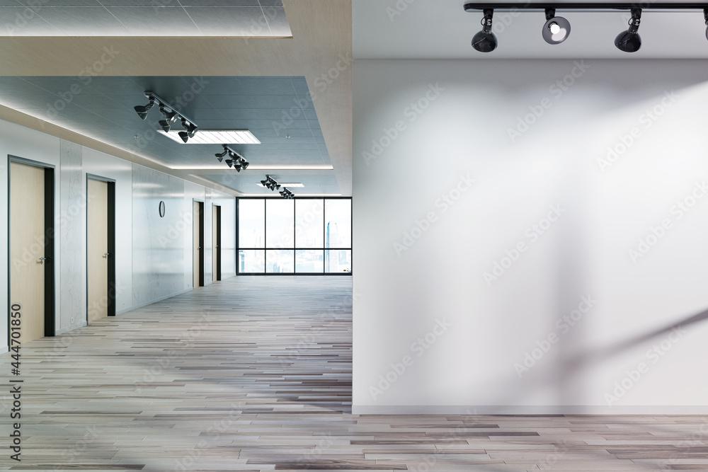 Leinwandbild Motiv - sdecoret : Blank wall in office mockup with large windows and sun passing through 3D rendering