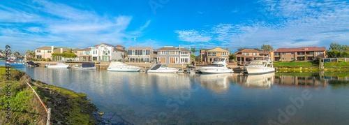 Canvas Print Estates at Huntington Beach, Southern California with yachts