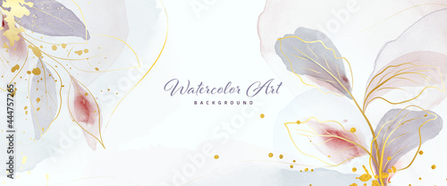 Abstract background watercolor gentle gold leaves and gold splash