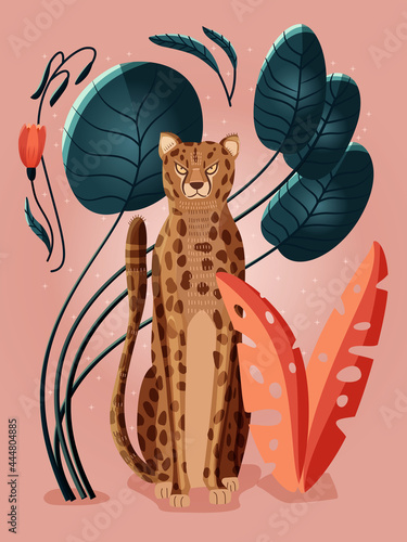 Fotografering Portrait of a cheetah on pink background surrounded with colorful plants, palm leaves and flowers