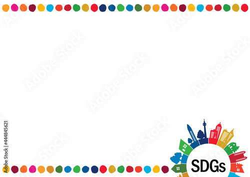Obraz na płótnie SDGs-持続可能な開発目標の街並みシルエットドットイメージフレーム