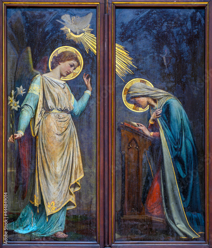 Obraz na plátně Painting of the Annunciation to the Blessed Virgin Mary