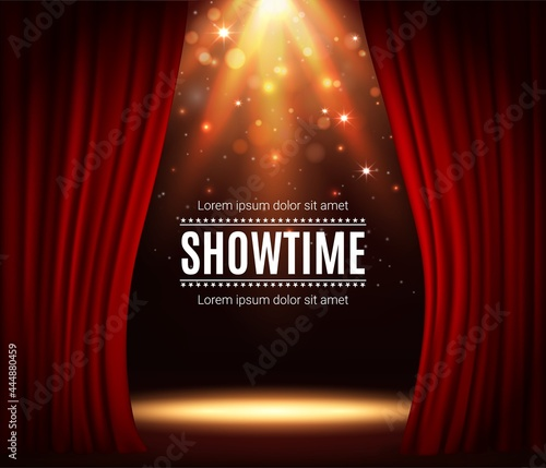 Photo Stage with red curtains, theater scene vector background with spotlight illumination and sparkles