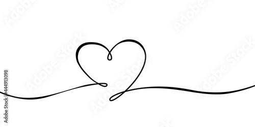 Lined heart shape on white illustration Fototapet