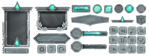 Stampa su Tela Stone UI game button set, rock vector frame, gray boulder sign board, green crystal, icon collection