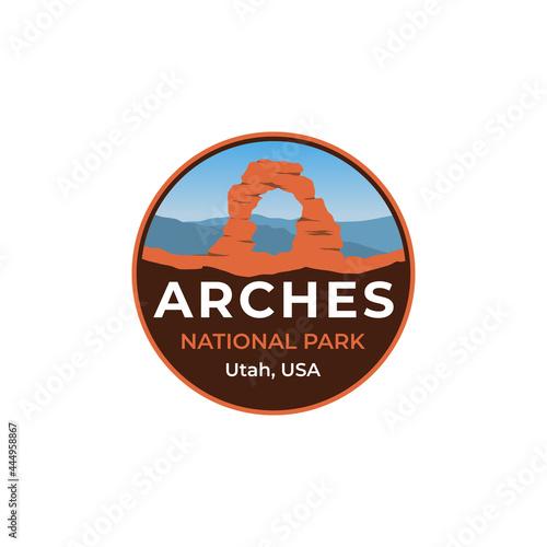 Fototapeta Simple arches national park badge patch sticker retro classic vintage logo illus