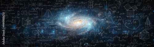 Fotografie, Obraz Mathematical and physical formulas against the background of a galaxy in universe