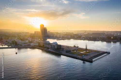 Aerial landscape of the harbor in Gdynia with modern architecture at sunset Fotobehang