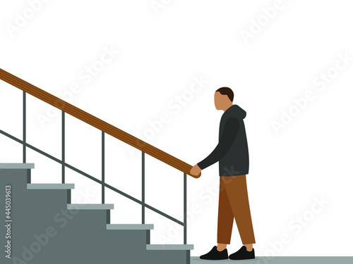 Canvastavla Male character stands near the stairs and holds the railing with his hand on a w