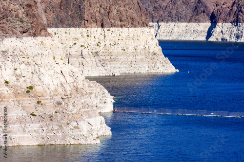 Canvas Print Record low water level of shrinking Lake Mead, key reservoir along Colorado River, amid severe drought in the American West