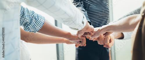 Billede på lærred Panoramic Teamwork,empathy,partnership and Social connection in business join hand together concept