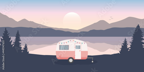 Fotomural wanderlust camping adventure in the wilderness with camper by the lake