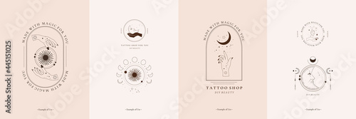 Photo Set of celestial spiritual esoteric magic talisman with woman hands, sun, moon, stars sacred geometry line art