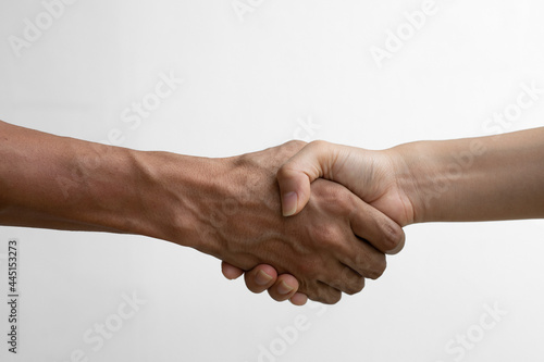 Fotografia Close up Shaking hands of two male and  female people, isolated on white background