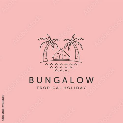 bungalow line art icon logo vector symbol illustration design, cottage and beach Fototapet