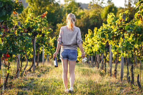 Female vintner holding red wine bottle and drinking glass in vineyard. Woman winetasting outdoors