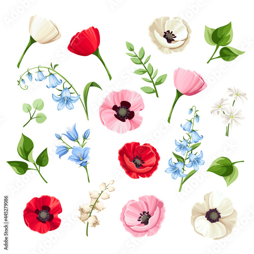 Fotografie, Obraz Vector set of red, pink, blue and white poppy flowers, bluebell flowers, lilac and lily of the valley flowers and green leaves isolated on a white background