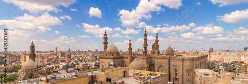 Fotografie, Obraz Panoramic shot of minarets and domes of Sultan Hasan Mosque and Al Rifai Mosque