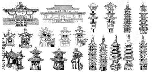 Photo Temple or Buddhist monastery shrine architecture