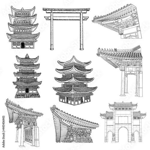 Wallpaper Mural Chinese and Japanese pagoda