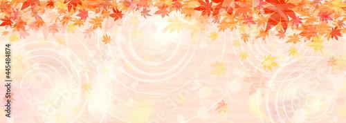 Obraz na plátně 紅葉と水辺の横長背景イラスト