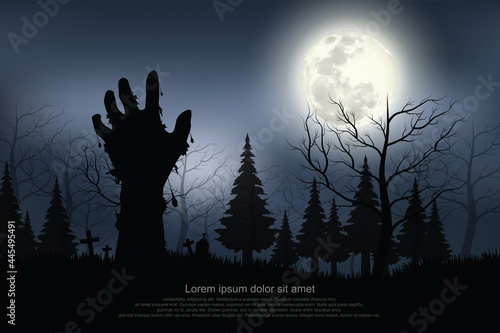 Stampa su Tela Ghost hand appeared on the full moon night.