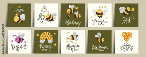 Vászonkép Honey bee cute summer card set