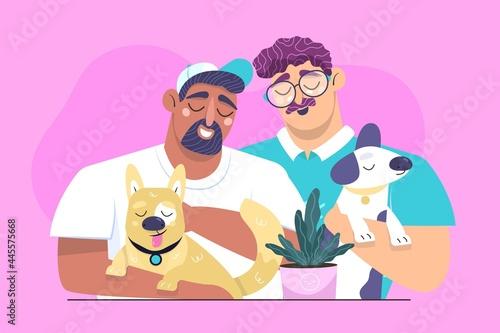 Carta da parati Flat People With Pets Illustrated_2