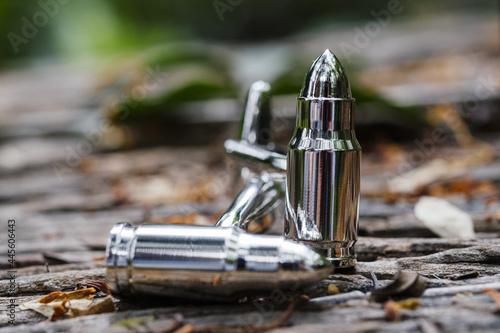 Closeup of silver bullets. Selected focus. Tapéta, Fotótapéta