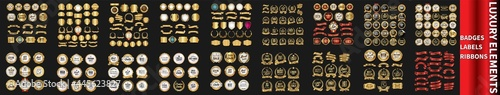 Luxury badges and labels with laurel wreath silver and gold collection. Gold Badges and Ribbons Set. Set luxury labels and ribbons. Retro gold and silver ribbons badges and labels vector collection.