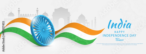 Obraz na płótnie 15 th August Indian Independence Day banner template design with Indian flag and silhouette of Indian monument