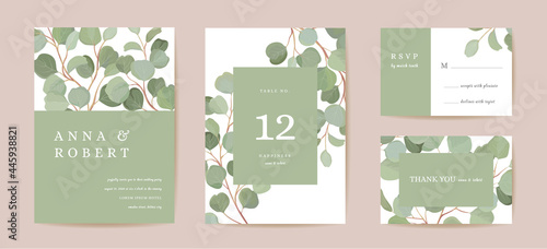 Canvas-taulu Watercolor eucalyptus, green leaf branches floral wedding card