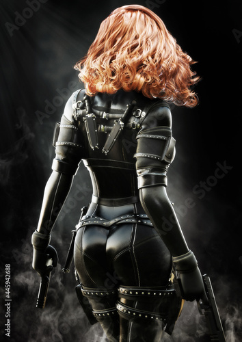 Fotografia Back rear view of a red headed armed warrior soldier wearing a tight leather black outfit and equipped with two pistols