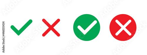 Foto Green check mark, red cross mark icon set