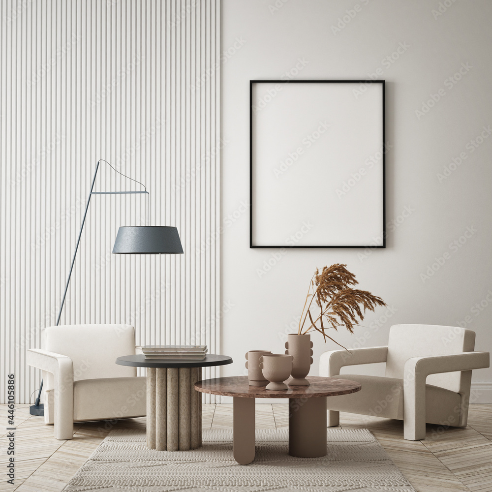 Leinwandbild Motiv - mtlapcevic : mock up poster frame in modern interior background, living room, minimalistic style, 3D render, 3D illustration