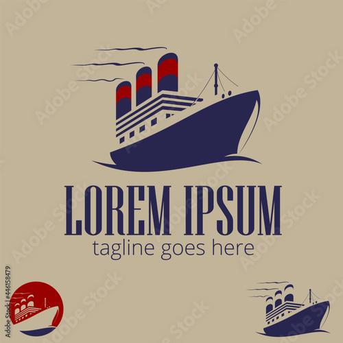 Obraz na plátně Big Steam Ship symbol vector illustration for brand, identity, design element, or any other purpose