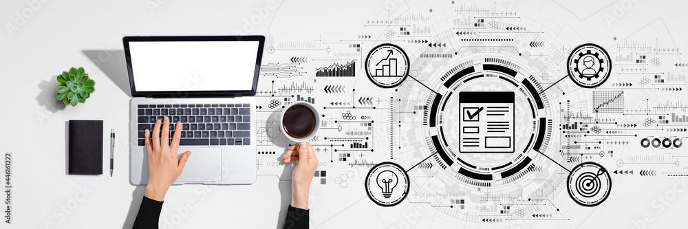 Leinwandbild Motiv - Tierney : Project management theme with person using laptop computer
