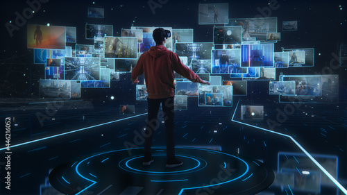 Canvas Internet Interface Concept: Person with Virtual Reality Headset Enters Cyberspac