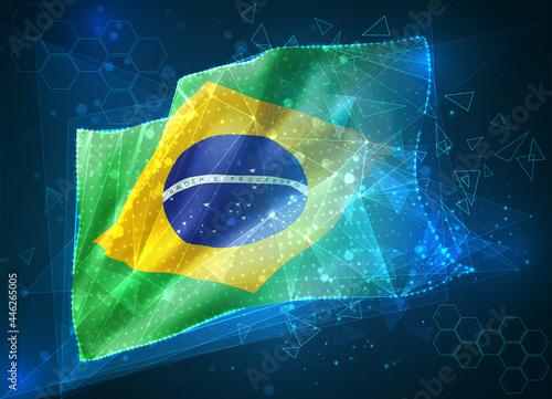 Obraz na plátně Brazil,  vector flag, virtual abstract 3D object from triangular polygons on a b
